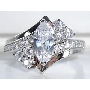 STERLING SILVER Marquise & Round Cut CZ Ring